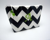 Makeup Bag - Cosmetic Case - Monogrammed and Wipeable - Navy Blue Chevron Zig Zag with Apple Green Accents
