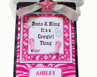 Personalized Zebra Hot Pink Clipboard Boots & Bling It's a Cowgirl Thing