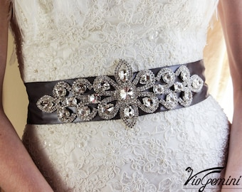 Bridal sash, rhinestones and pearl sash, wedding sash, jeweled sash belt