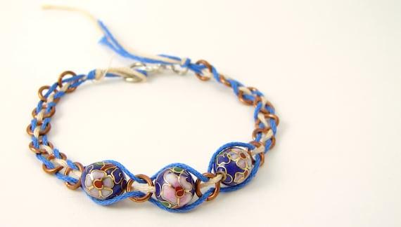 Blue Sky & Cherry Blossoms - Beaded Woven Bracelet