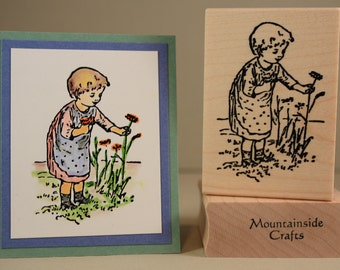 SWEET CHILD -little girl picking summer flowers- wood mounted rubber stamp(MCRS 20-14)