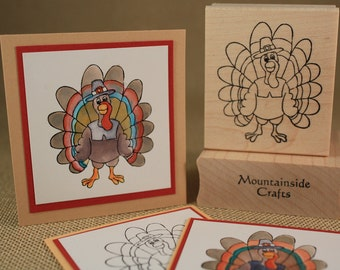 TURKEY Rubber Stamp~Thanksgiving Turkey Stamp~Turkey Dinner~DIY Fall and Autumn Decor~Turkey Feathers~Wood mounted rubber stamp (22-07)