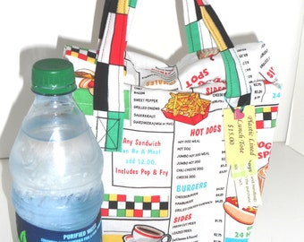 Retro Diner Menu Lunch Tote, Plastic Lined, Reusable Eco Friendly