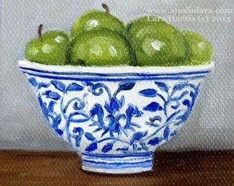 CUSTOM Itty Bitty Bits of Pretty. . .Green Apples in Ming Bowl -Still Life 3x3 Original Painting in OIL by LARA aceo