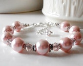 Bridesmaid Jewelry Pink Pearl Bracelet with Czech Glass in Silver Ballet Pink Wedding Jewelry Beaded Bridesmaid Bracelets Spring Weddings