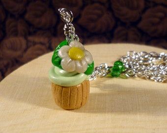 SALE - Lime Swirled Cupcake with Flower Polymer Clay Charm Necklace