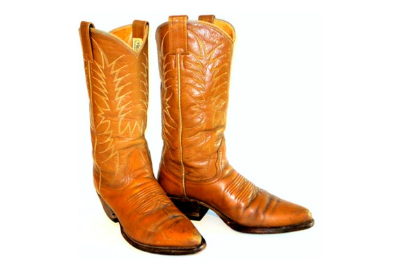 Light Brown Camel Tan Nocona Leather Boots by Nocona - Made in USA - Women's Shoe Size US 7 C