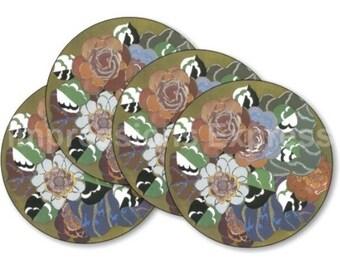 Floral Art Deco Art Nouveau Coasters - Set of 4