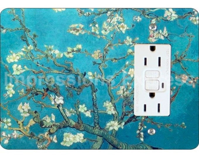 Almond Branches Van Gogh Painting GFI Grounded Outlet Plate Cover