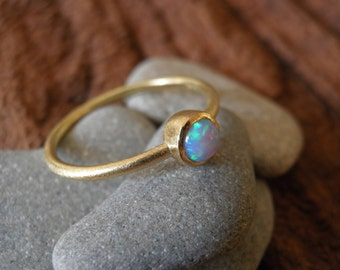 18k Gold  Ring, Solid gold ring, opal ring, Classic Opal Ring, simple opal stuck ring, Opal gold ring, Statement Ring, Bridal Jewelry