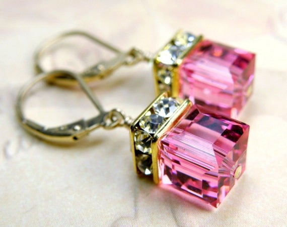 Pink Earrings, Crystal Drop Swarovski Cube, Rose, Gold Filled, Bridal Party Gifts, Bridesmaids Earrings Wedding Jewelry, October Birthday