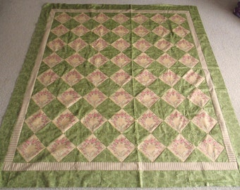 Green Yellow Roses Quilt Top - Unquilted - Unfinished - Machine Pieced