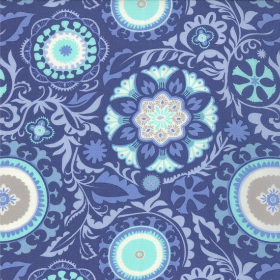 Sunnyside blue celestial opal fabric moda kate spain for Celestial pattern fabric