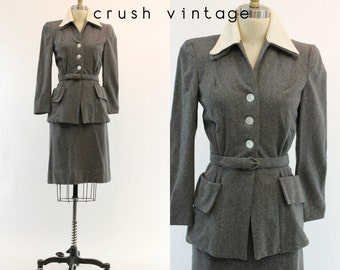 40s Suit Wool XS / 1940s Vintage Jacket Nipped in Waist and Pencil Skirt / Earl Grey Suit
