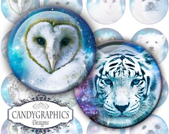 Space Animals 2 - Digital Collage Sheet - 1x1 inch circles Great for bottle cap Pendants - Buy 2 Get One FREE