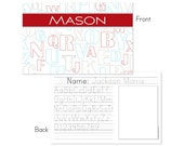 Retro ABCs personalized placemat - Red