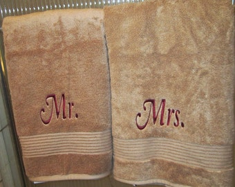 Mr. and Mrs. Embroidered Bath Towels- Wedding Gift