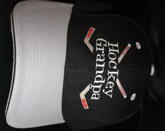 Hockey Grandpa-Embroidered Baseball Hat