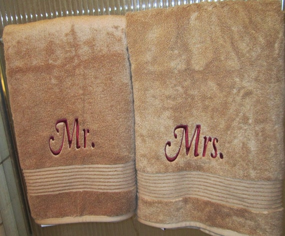 Mr and mrs embroidered bath towels wedding gift for Mr and mrs spa