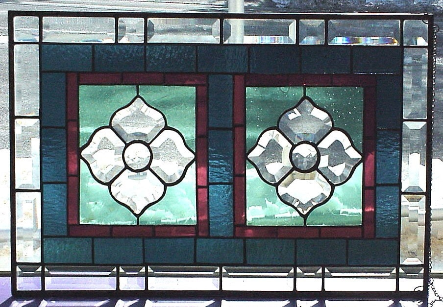 Beveled victorian style stained glass window panel park for 15 panel beveled glass door