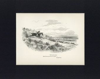 Antique 1892 Print of Fox Hunting - Gone Away