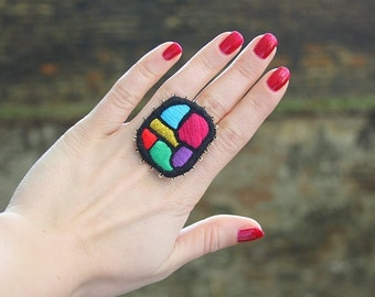 "Hand Embroidery textile multicolour ring  ""Color Mosaic "" - textile art jewelry"