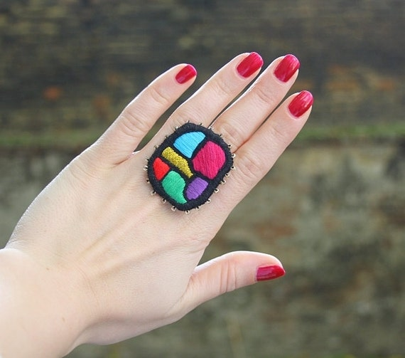 """Hand Embroidery textile multicolour ring  """"Color Mosaic """" - textile art jewelry"""