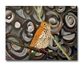 Woodland Bird Art 12 x16 oil on canvas fine art painting Wood Thrush modern swirls contemporary circles rustic home decor for bird lover - KneeDeepOriginals