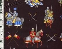 Fabric RJR Enchanted Kingdom Medieval Knights in Armor on Horseback on black SCA