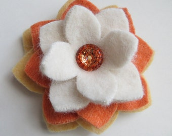 Candy Corn - Felted Wool Flower Brooch Pin - Yellow Orange White - Halloween Fall Fashion