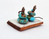 Pyramids - Antique Brass and Kingman Boulder Turquoise Earrings