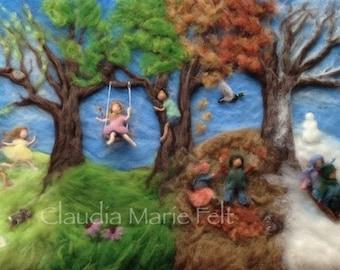 Waldorf Seasons Needlefelt Wool Painting, Custom