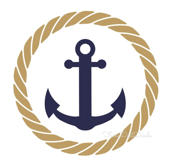 Rope circle with anchor wall decal nautical by fairydustdecals