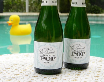 Custom Wine, Champagne, or Mini Champagne Bottle Labels - She's About to Pop  // Baby Shower