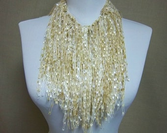 Fringe Binge Fringe Necklace Scarf in White, Cream and Tan Ready to Ship Infinity Scarf Circle Scarf Knotted Scarf Crochet Scarf Multicolor