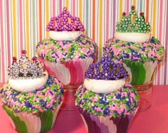 Mini Tiara Cupcake Decorations  (8 )