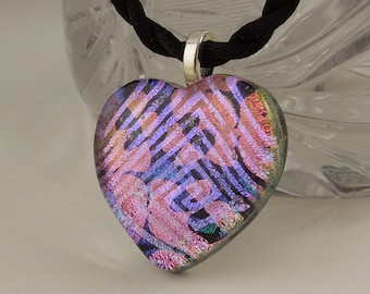 Dichroic Heart, Fused Glass Heart, Fused Glass, Dichroic Fused Glass Heart Pendant  X6521