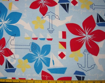 Sailboat and Anchors Design FLANNEL Fabric Destash Remnant 1 Yard