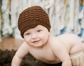 Brown Crochet Baby Hat, Baby Boy Clothes, Hats for Babies, Baby Boy Hat with Brim, Baby Newsboy Hat, Chocolate, MADE TO ORDER