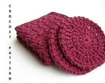 INSTANT DOWNLOAD Crochet Pattern - Crochet Washcloth Pattern - Facial Scrubbie Crochet Pattern - 2 for 1