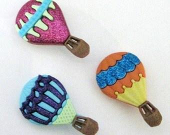 Hot Air Balloons  Buttons Set of 3