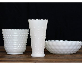 Vintage 50s Milk Glass Instant Collection - Set of Three