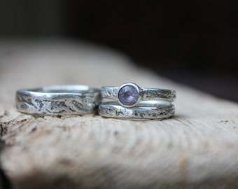 unique engagement ring wedding bands set . purple spinel engagement ring . engraved messages . rustic river rock ring set by peacesofindigo