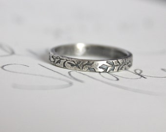 purity ring . true love will wait ring . vine textured silver skinny band . promise ring by peacesofindigo . ready to ship size 5 6 7 8