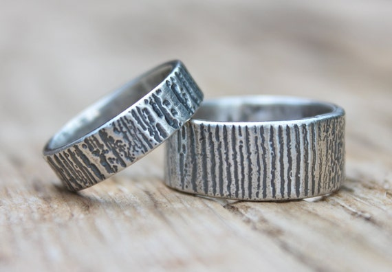 Items Similar To Recycled Silver Wedding Band Set Engraved You And Me Rings Bands Recycled
