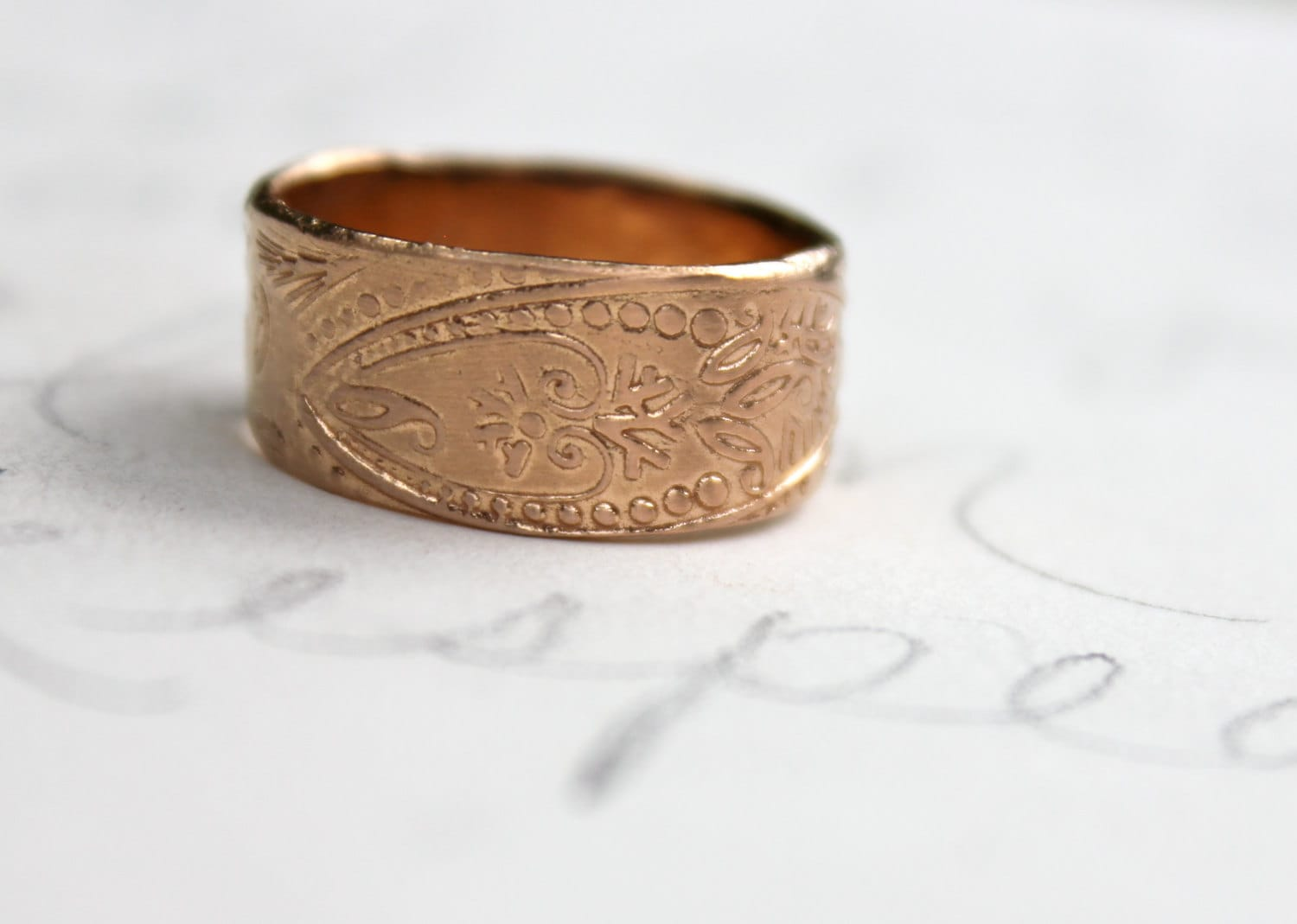 SALE . Wide 14k Rose Gold Wedding Band . By Peacesofindigo