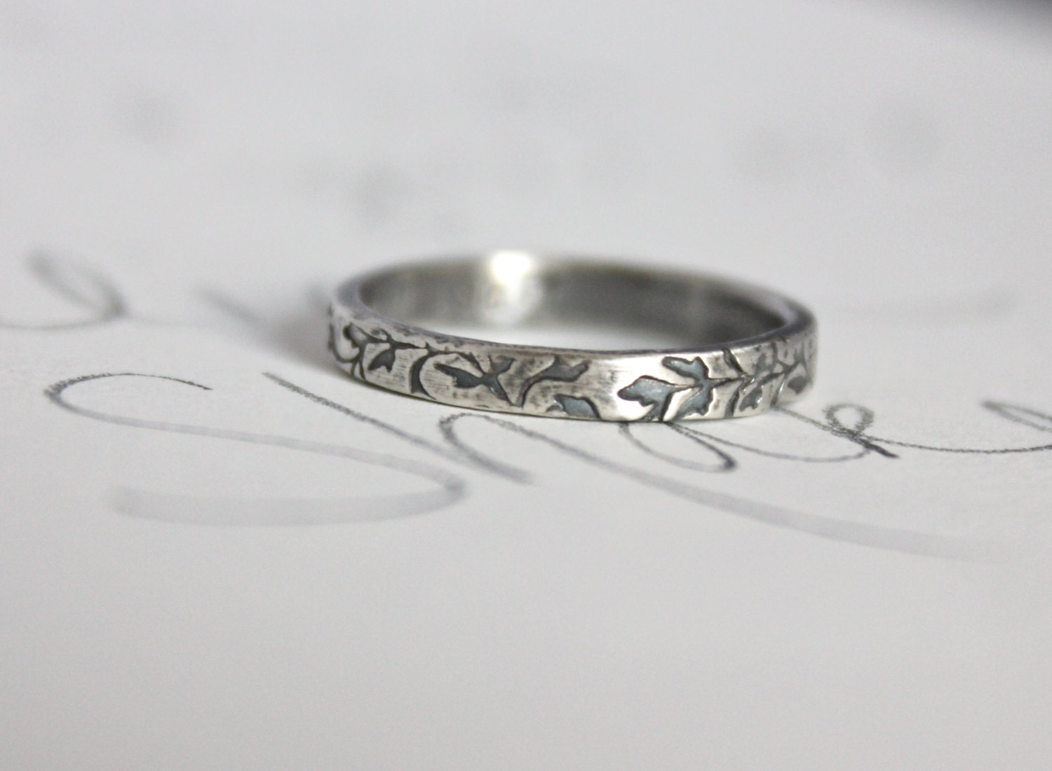 purity ring true will wait ring vine textured silver