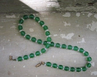 A Vintage Necklace in Green Glass