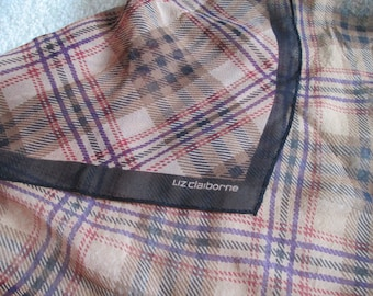 Silk Scarf Liz Claiborne Designer Signed Vintage Scarf Plaid Nova Check Chiffon Fall Neutral Colors Camel Brown Black Rust Red