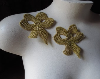 2 Gold Lace Applique Bows in Metallic Gold Venice Lace for Bridal, Jewelry, Costumes CA 805